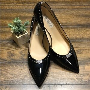 Brighton Black Leather Patent Pumps